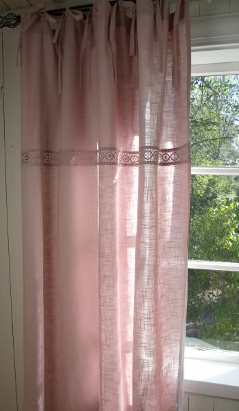 Vorhang LINA ROSA Gardine 120x240 2 Stück Scheifen Häkelspitze