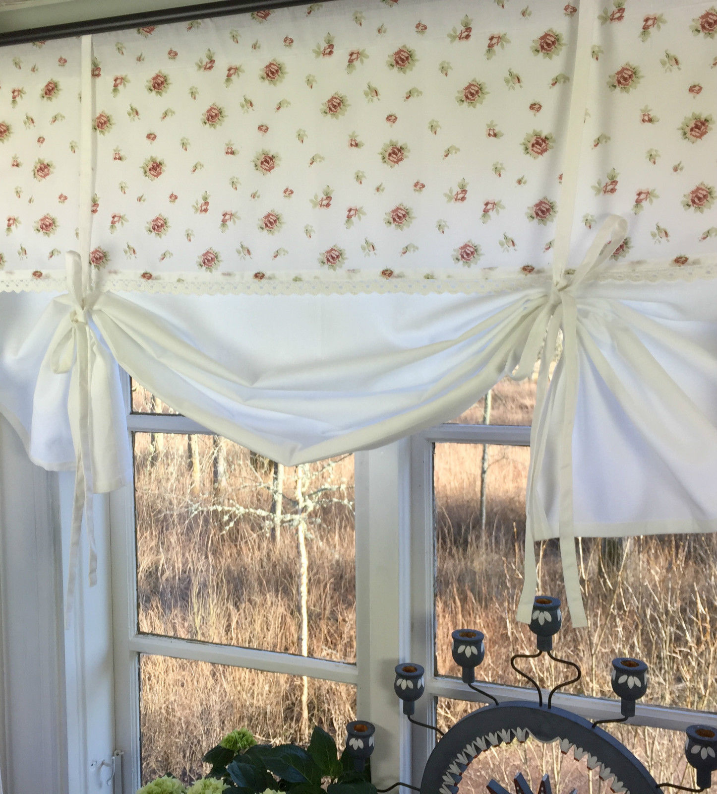 raff gardine lena wei rosen deko 120x90 cm raffgardinen. Black Bedroom Furniture Sets. Home Design Ideas