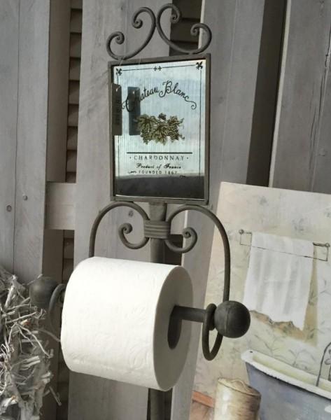 Toilettenrollenhalter Spiegel MIRROW Metall grün braun Antik Style