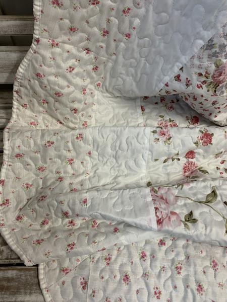 Tagesdecke Flower ROSE 260 x 260 cm Weiß Rosa Creme Doppelbett Steppdecke Sofaüberwurf Landha