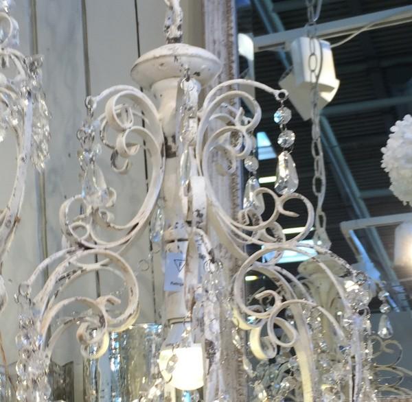 B-Ware Kronleuchter VIKTORIA antik weiß handgemacht E14 Deckenlampe Hängelampe Acrylglas