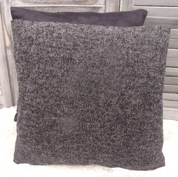 Kissenbezug ULLA DUNKELGRAU 45x45cm schwarz meliert Wolle Acryl Polyester