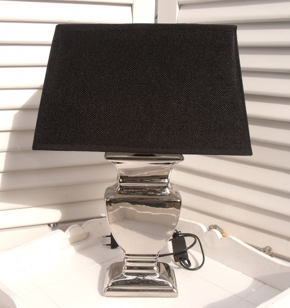 Tischleuchte Keramik SILVER BLACK Designer Lampe E27 Vasenform