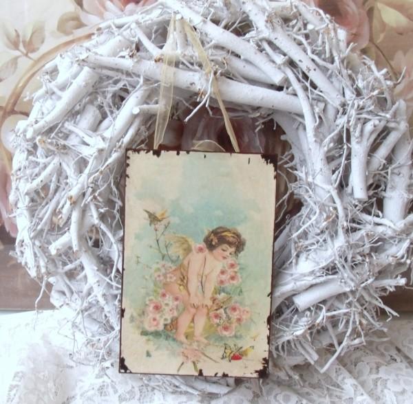 Nostalgisches Dekoschild Blechschild ENGEL mit Blumen