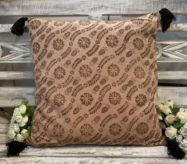 Kissen Bezug Hülle MINA Rosa 45 x 45 cm Samt Baumwolle Quasten Landhaus