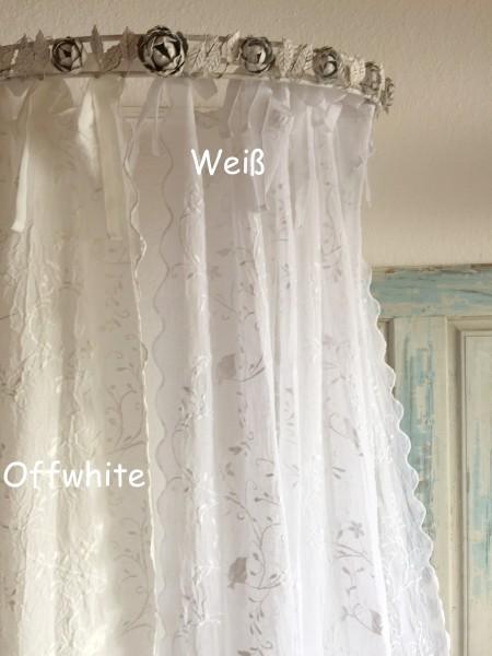 WEIß Gardinen Schal BIRD NR 3 Bestickt 200x250 Shabby Vintage Landhaus Transparent