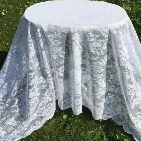 Spitzen Tischdecke LUCIA WEIß Rosen 140x250 Shabby