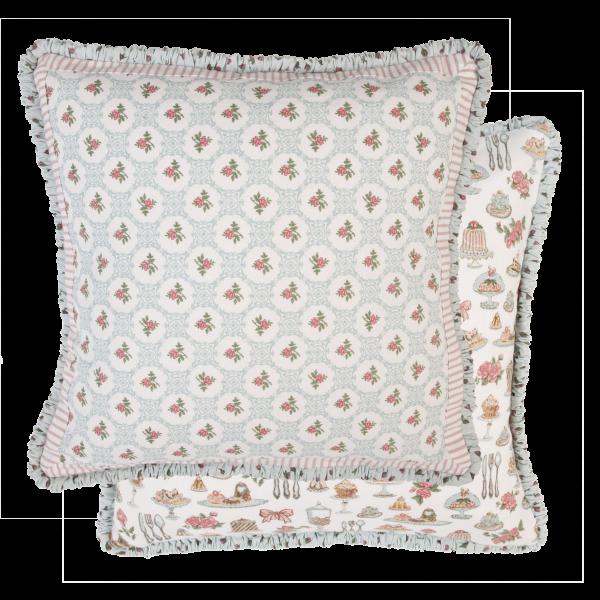 Kissenbezug PRALINE 40x40 cm Pastell türkis-blau-rose Baumwolle