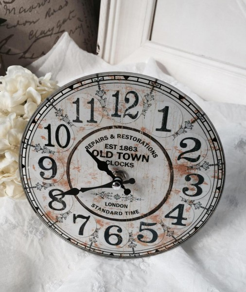 Tisch Stand Kamin Uhr TOWN Glas 17*4 cm natur offwhite grau