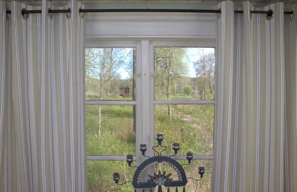 Vorhang ROMY BLAU Gestreift 115x240 cm 2 Stück Ösenschals Maritim Streifen Landhaus