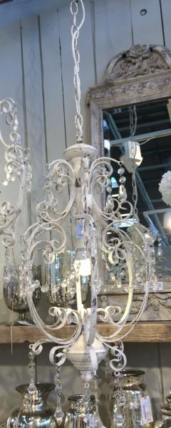 Kronleuchter VIKTORIA antik weiß handgemacht E14 Deckenlampe Hängelampe Acrylglas