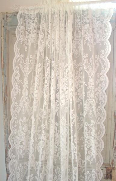 vorhang lucia offwhite spitzen gardine rosen 120x240 cm 2 st ck spitzen gardinen mehr. Black Bedroom Furniture Sets. Home Design Ideas