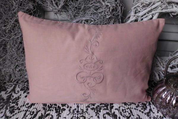 Kissenbezug CLIVIA 35x50 cm lachs rosa Stickerei Landhaus Leinen Baumwolle