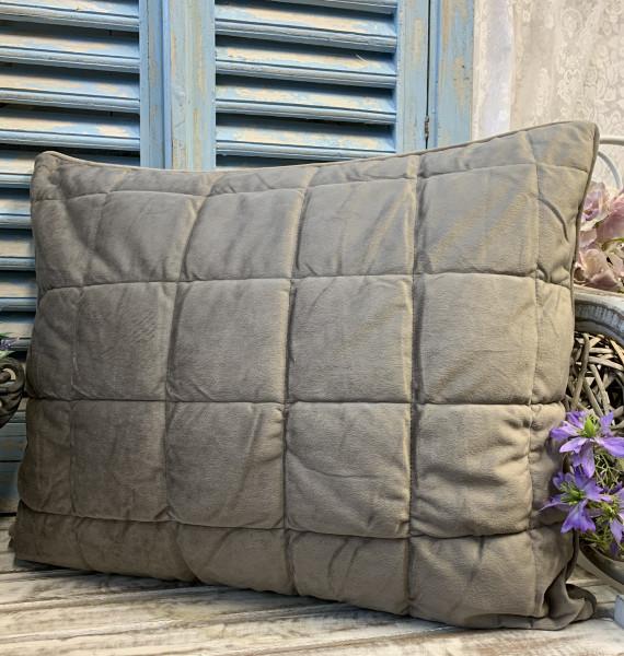 Kissen Bezug Hülle VELOUR SAND 50x60 cm Kuschel Steppkissen Polyester