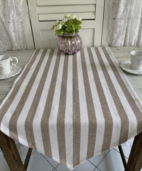 Tischläufer MUSCHEL BRAUN Streifen 50 x 160 cm Baumwolle Landhaus