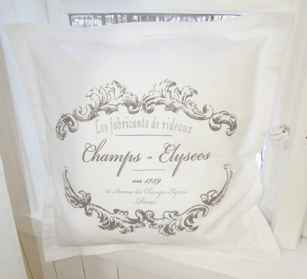 Kissenbezug ELEGANCE weiß Shabby Vintage 45x45 cm Baumwolle