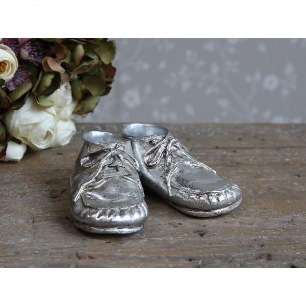 Deko Schuhe silber TOULON Vintage Schuhe Weihnachts
