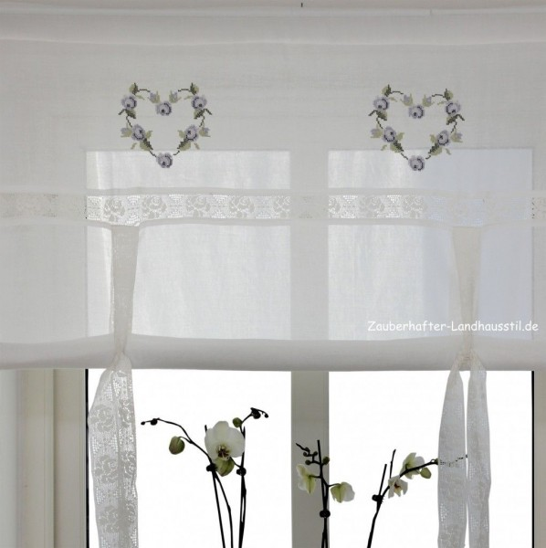 raff gardine heart blau 140 cm breit shabby chic vintage curtain raffgardinen rollos. Black Bedroom Furniture Sets. Home Design Ideas