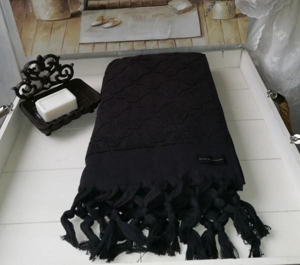 Handtuch DINA Schwarz 50x70 cm Frottee Handtuch Fransen