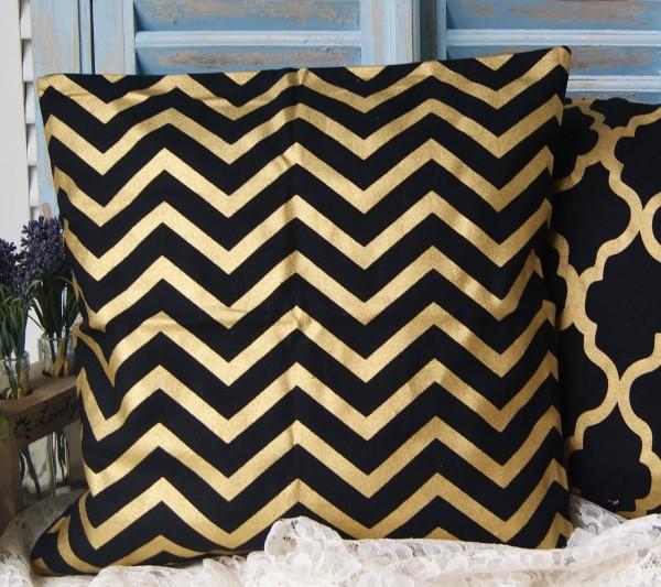 Kissenbezug Schwarz Gold 45x45 cm verschiedene Muster Metallic Loft Style Shabby