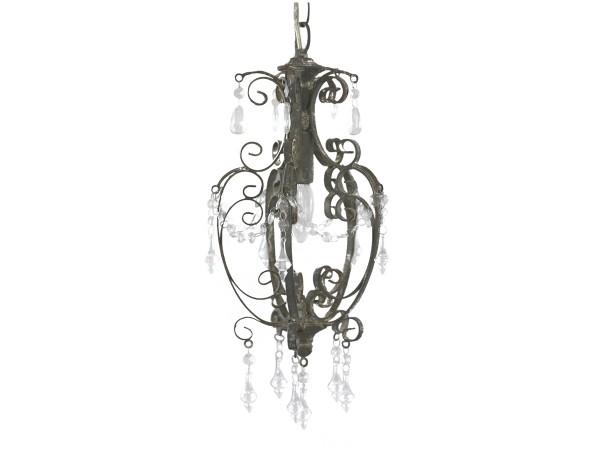 Kronleuchter ESTELLE antik grau handgemacht E14 Deckenlampe Hängelampe Acrylgras