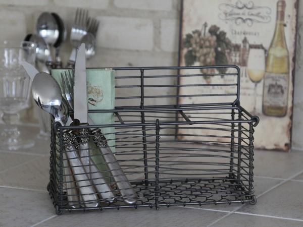 Besteckkorb BASKET MINI Drahtkorb Metall Aufbewahrung Vintage Shabby Bad Küche