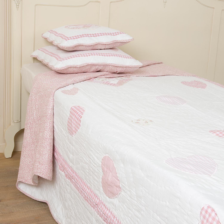 tagesdecke herzchen 230x260 cm rosa wei tagesdecken. Black Bedroom Furniture Sets. Home Design Ideas