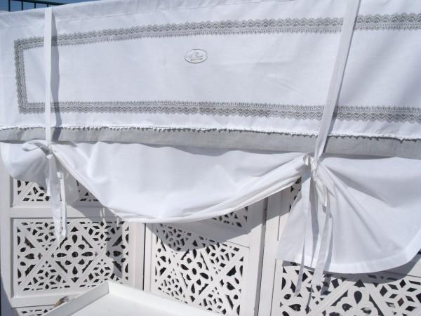 Raff Gardine CIONA weiß grau 156x100 cm Landhaus Shabby
