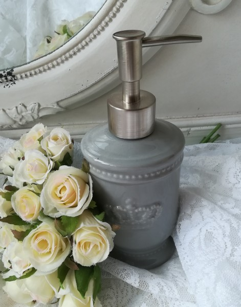 Seifenspender KRONE Grau Keramik Landhausstil Shabby Chic