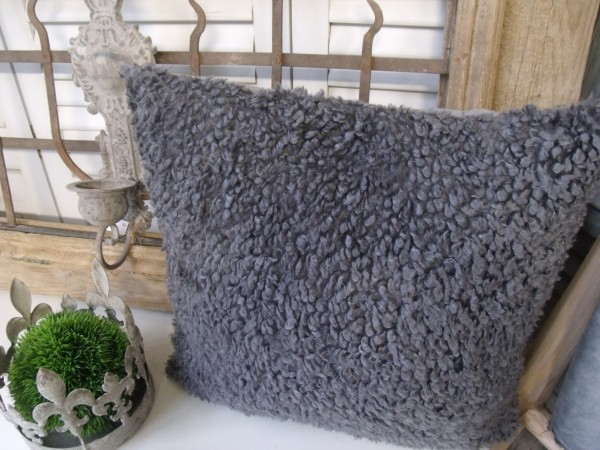 Kissenbezug ALEX GRAU 45x45cm Plüsch Lammfelldesign Polyester