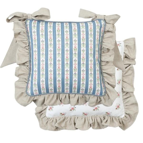 stuhlkissenbezug marie r sche blau wei sand 40x40 cm stuhlkissenbez ge kissen. Black Bedroom Furniture Sets. Home Design Ideas