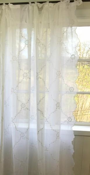 Gardinen Schal CHIARA Bestickt Rein Weiß 200x250 oder 200x300 cm Shabby Vintage Landhaus