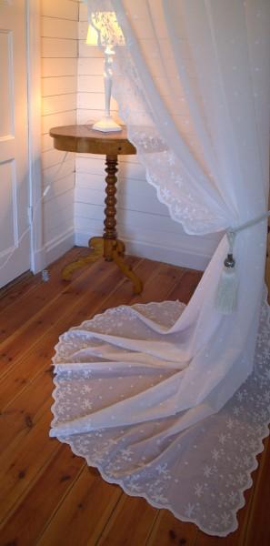 Gardinen Schal KAYA OFFWHITE 1 x 130x250 cm BxH(L) Bestickt Shabby Vintage Landhaus Bandaufhängung-C