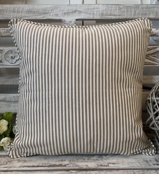 Kissen Bezug Hülle Pamela SAND Streifen 45 x 45 cm Baumwolle Landhaus
