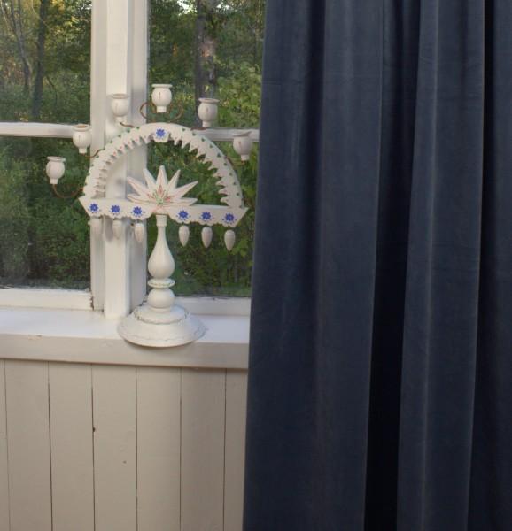 Vorhang GABRIELLA Samt BLAU DENIM 140x240 cm 2 Stück blickdicht