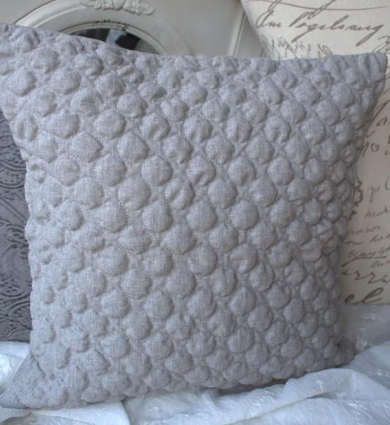 Kissen Bezug Hülle CHARLY Grau 50x50 cm Deko Landhaus Polyester