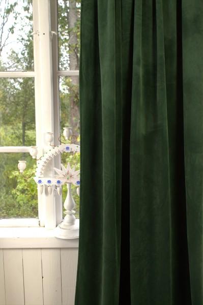 Vorhang GABRIELLA Samt Tannen Grün 140x280 cm 2 Stück Blickdicht