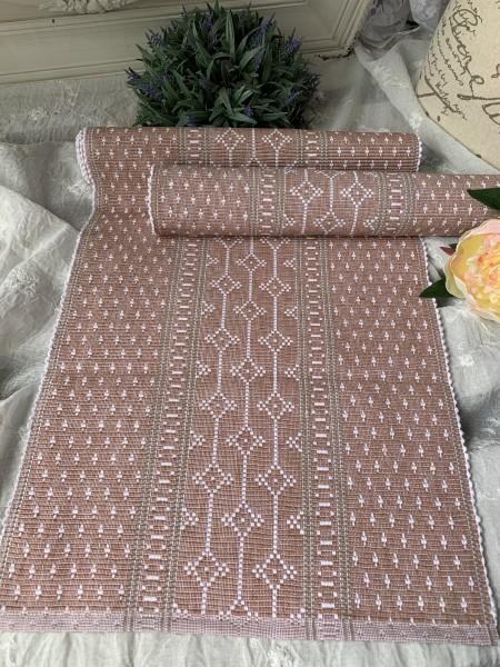 Tischläufer SANA Rosa Weiß Grau 35x120 Baumwolle skandinavischer Landhaus Stil