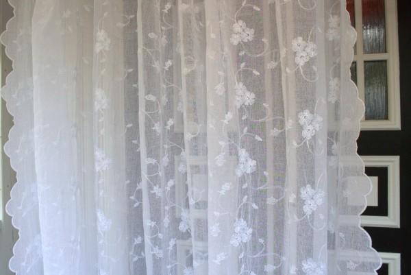 WEIß Gardinen Schal LISAMARIE 200x300 cm Bestickt Shabby Vintage Landhaus transparent Vorhang