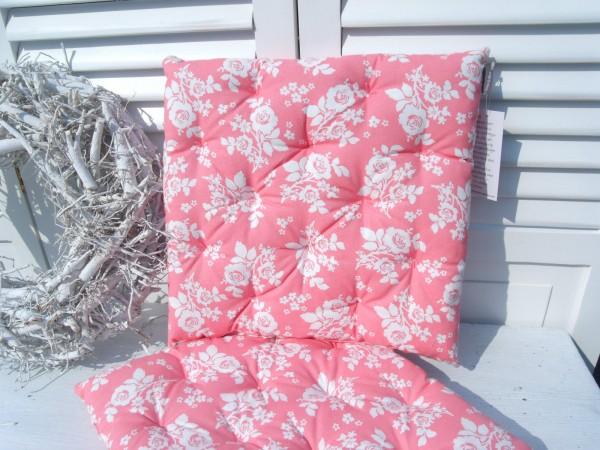 stuhlkissen elegance rose rosa wei 40x40 cm blumen floral matratzenkissen stuhlkissen. Black Bedroom Furniture Sets. Home Design Ideas