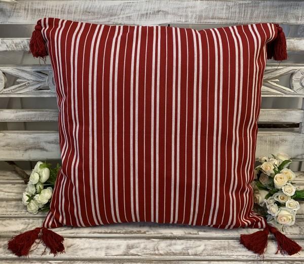 Kissen Bezug Hülle EVA Rot / Weiß gestreift 50 x 50 cm 100% Baumwolle Quasten Landhaus