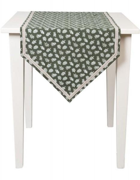 Tischläufer ABBY grün natur 50x160 Landhaus