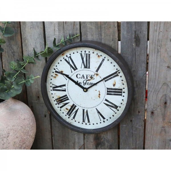 Wanduhr CAFE DE FRANCE Graphit Antique Metall Shabby Chic Vintage Style