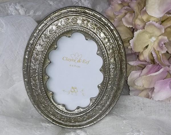 Foto Bilder Rahmen 6x9 cm Oval silber gold gewischt