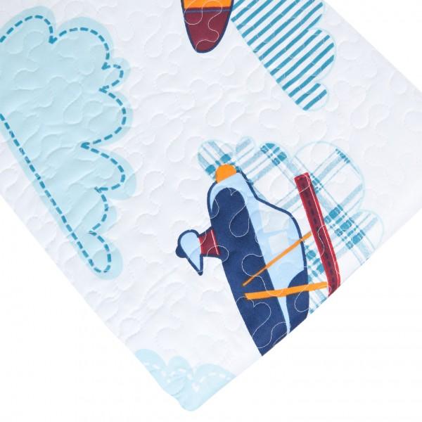 Tagesdecke FLUGZEUG 140x220 cm weiß blau rot türkis Kinder Krabbeldecke