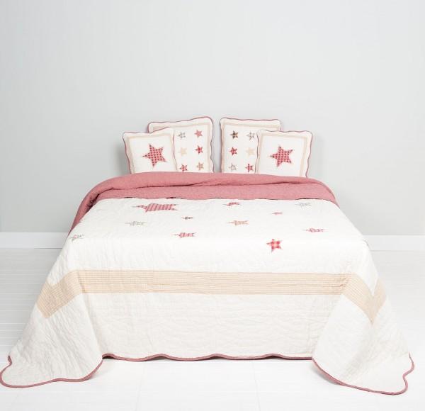 Tagesdecke Sterne Bunt 180x260 Creme Rot Kariert Sofaüberwurf Landhaus