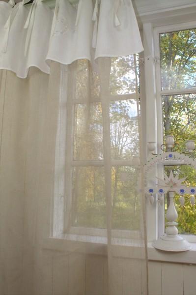 Vorhang Leinen Gardine HERZ 1 Schal 140x250 cm Shabby Vintage Bestickt Sand Weiß