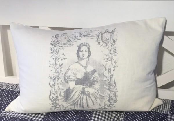 Vintage Kissen Landhausstil Dekokissen mit Monogramm Schoko braun Zierkissen neu