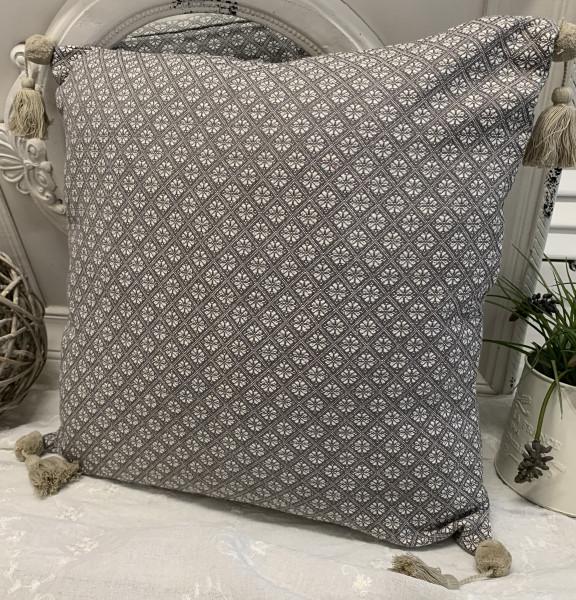 Kissen Bezug Hülle TILLA Grau Weiß 48 x 48 Baumwolle Landhaus