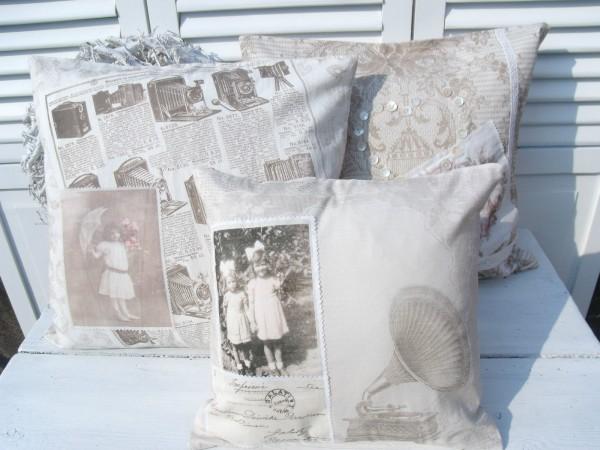 kissenbezug aurelia 40x40 cm natur sepia nostalgie. Black Bedroom Furniture Sets. Home Design Ideas